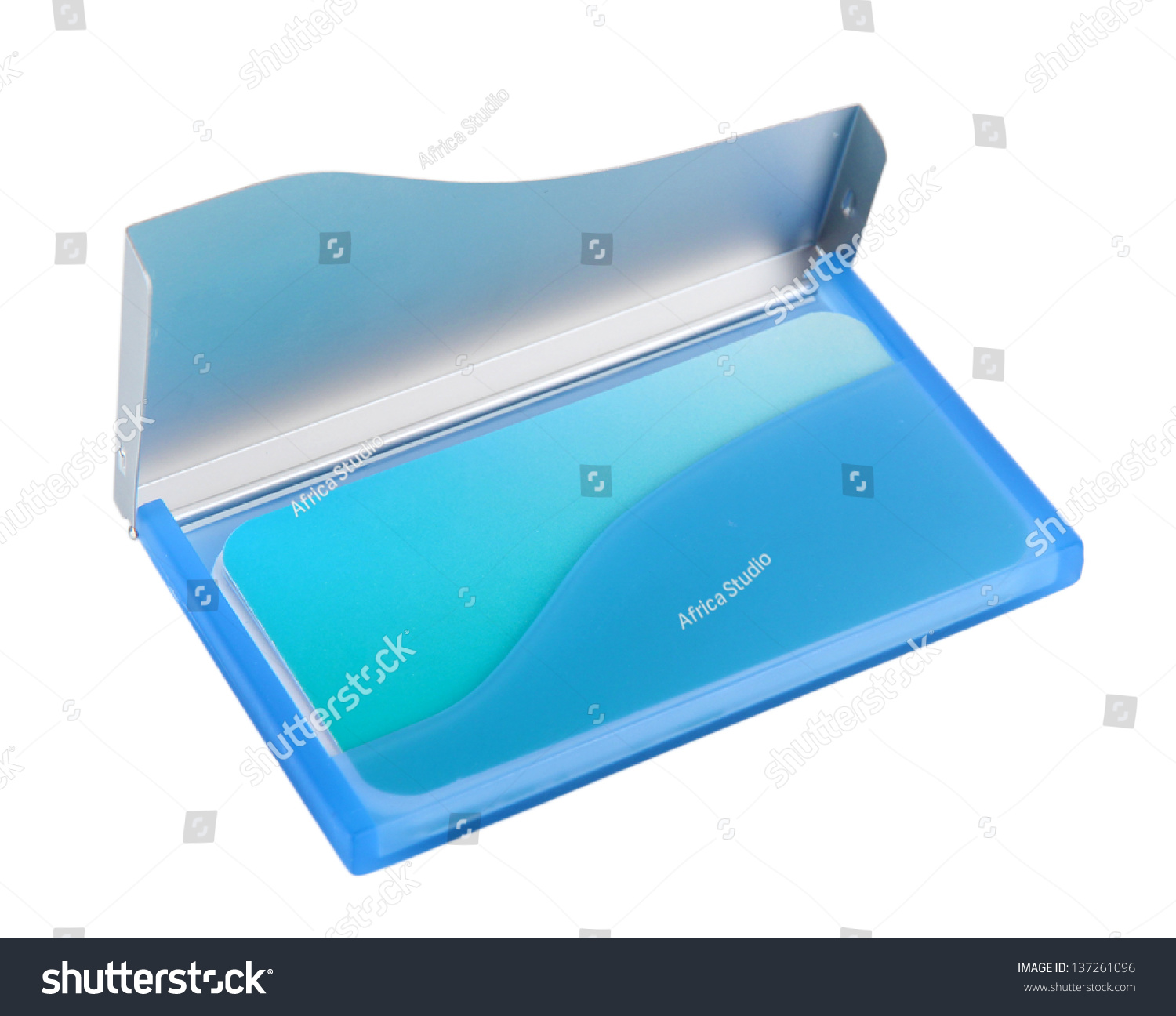 Blue Business Card Holder Isolated On Stock Photo 137261096 ...