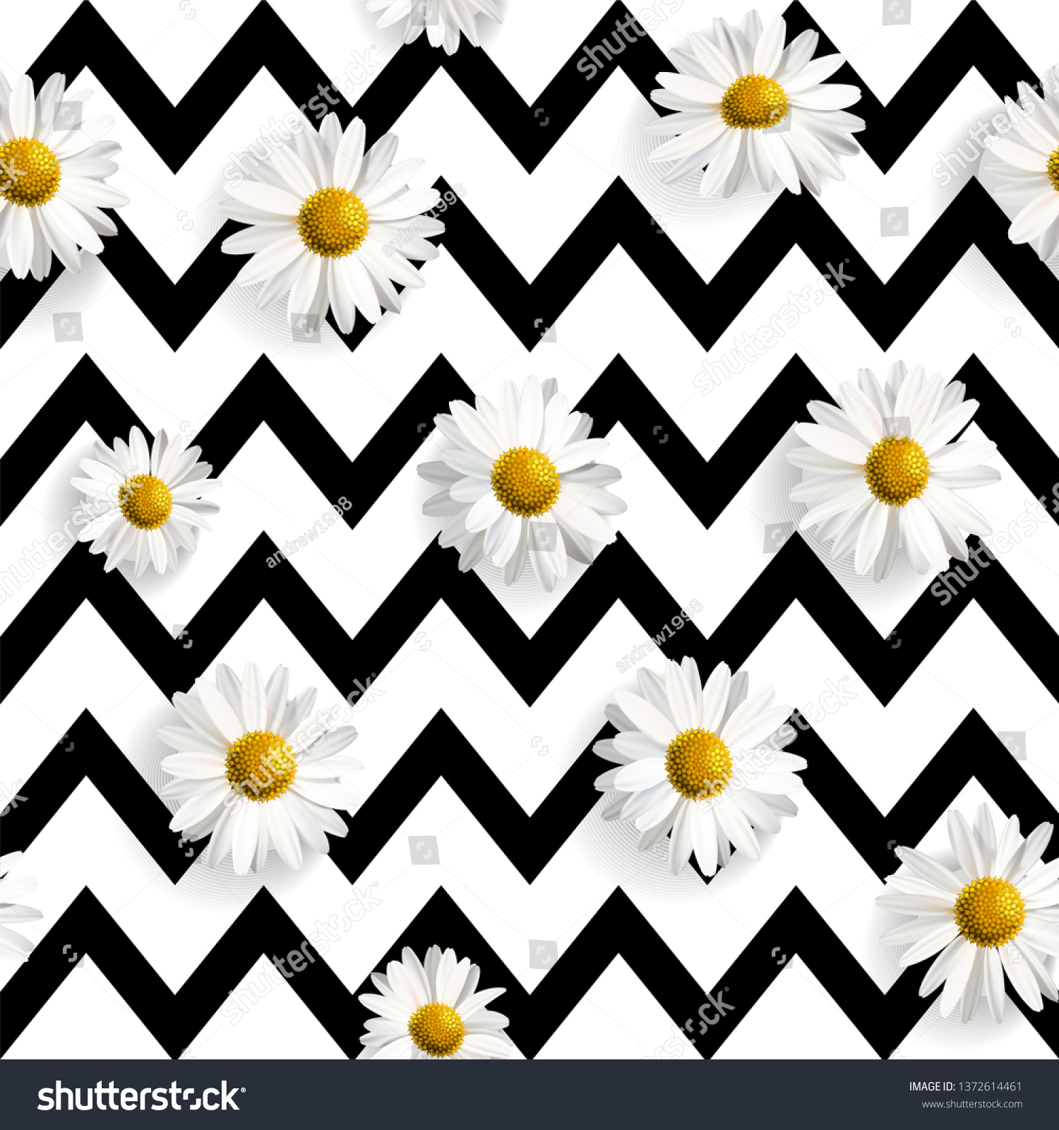 Vector Realistic Daisies Seamless Pattern Black Stock Vector