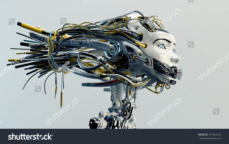 Robot Stylish Headdress Sophisticated Neck System Stock Illustration ...