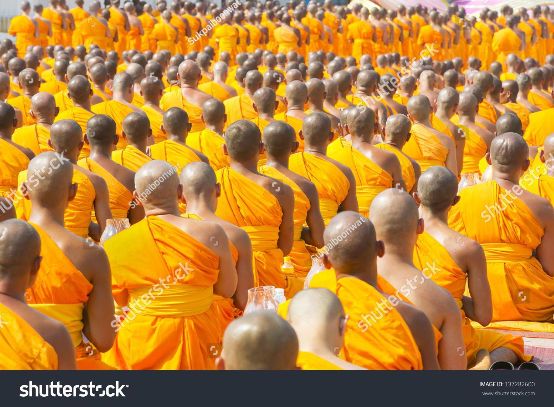 Buddhist Monks Pray Buddha Candles Chiang Stock Photo ...