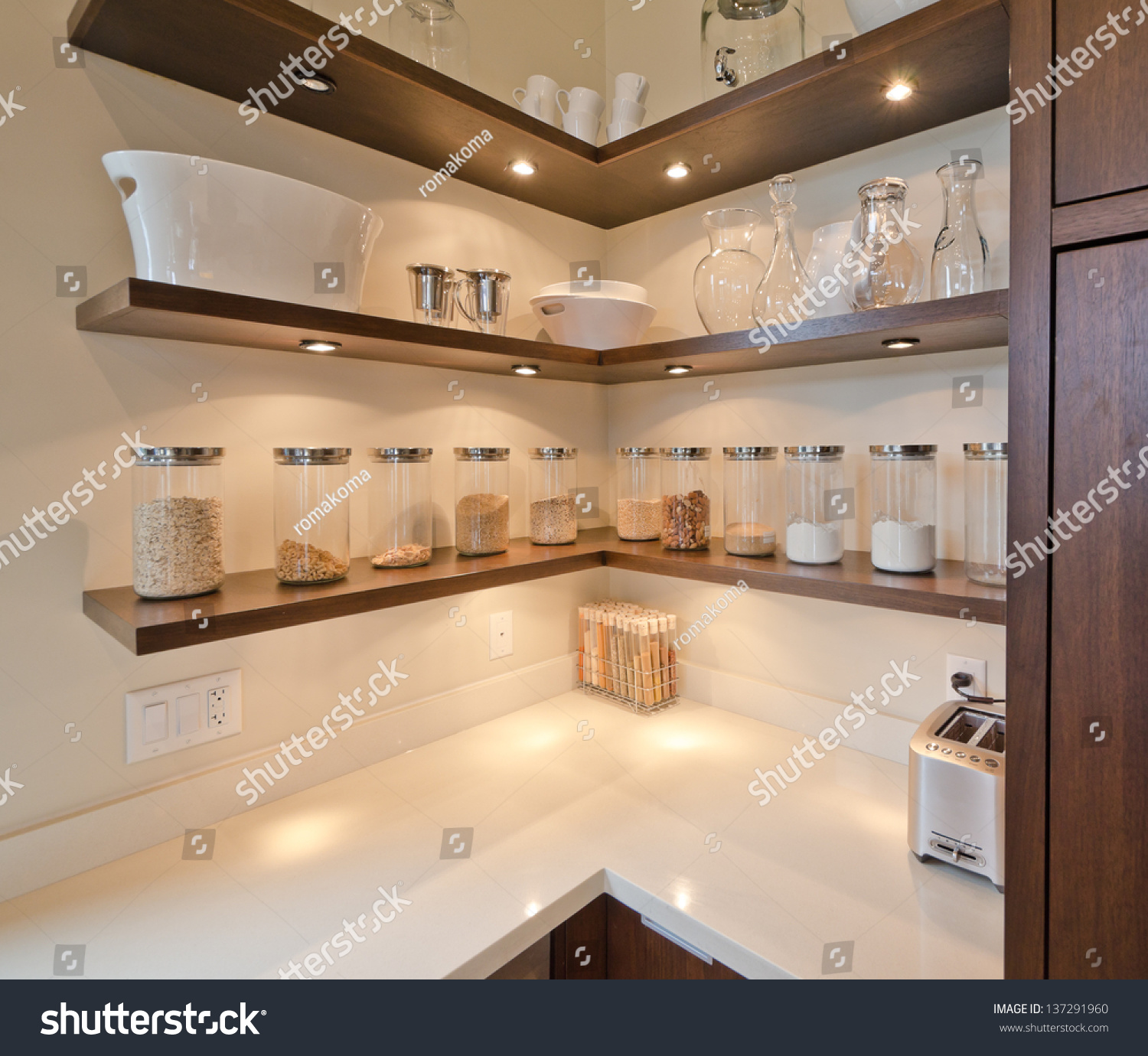 Modern Kitchen Shelf Design: Fragment Luxury Modern Kitchen Some Shelves Stock Photo