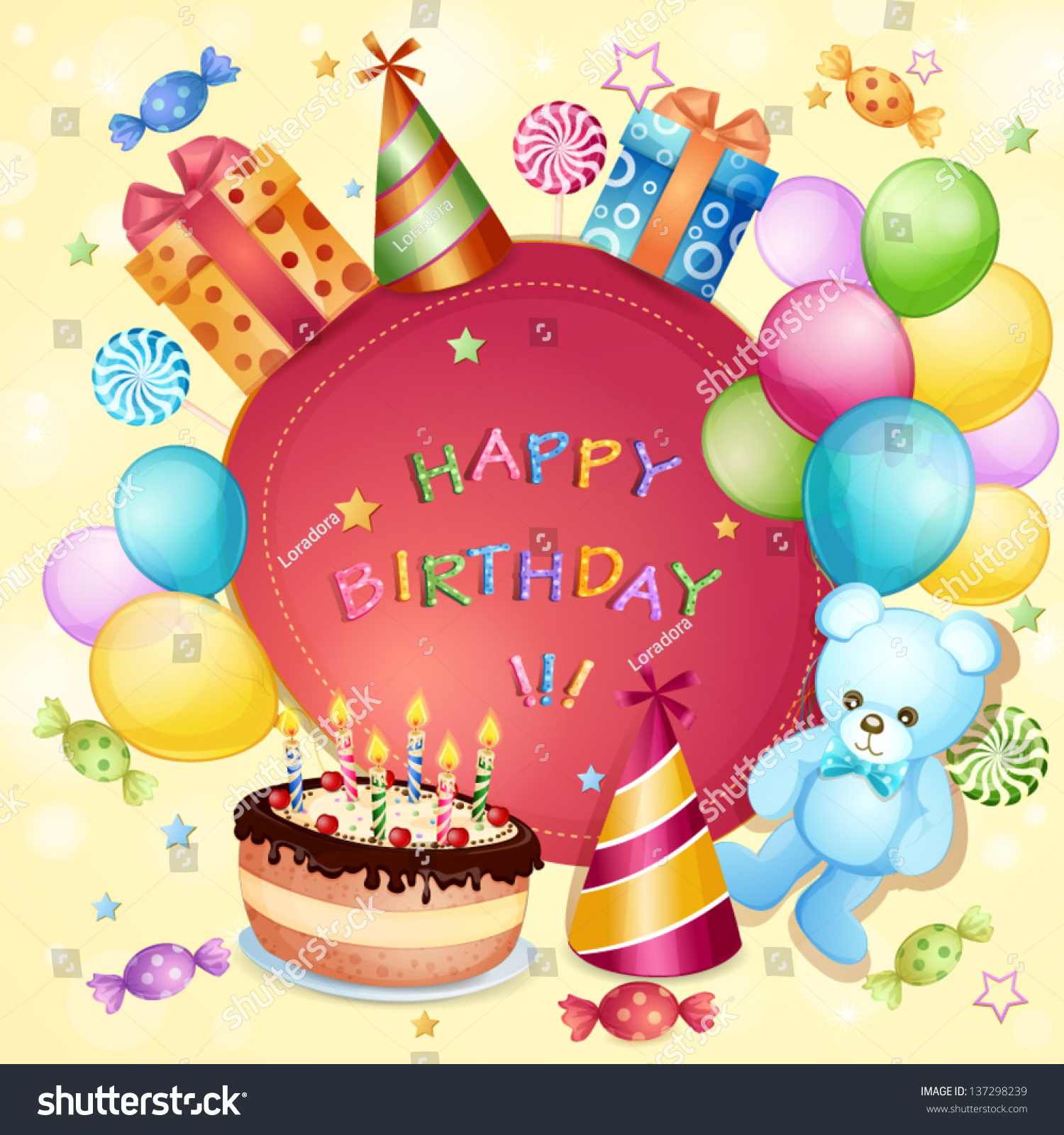 Swell Birthday Card Birthday Cake Balloons Gifts Stock Vector Royalty Personalised Birthday Cards Veneteletsinfo