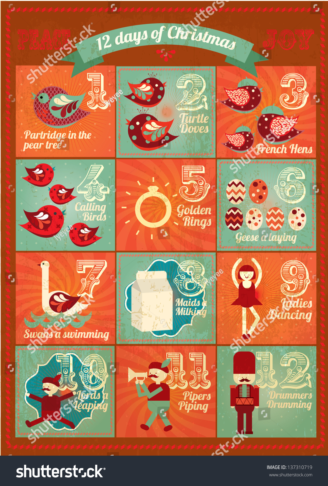 vintage advent calendar / twelve days of christmas template vector ...