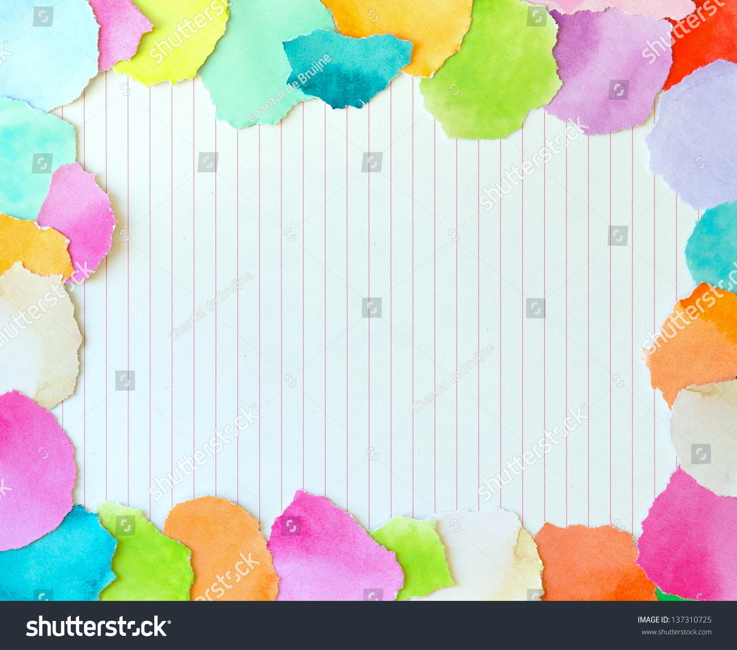 Colorful Border Torn Pieces Paper Surrounding Photo – Colored Writing Paper
