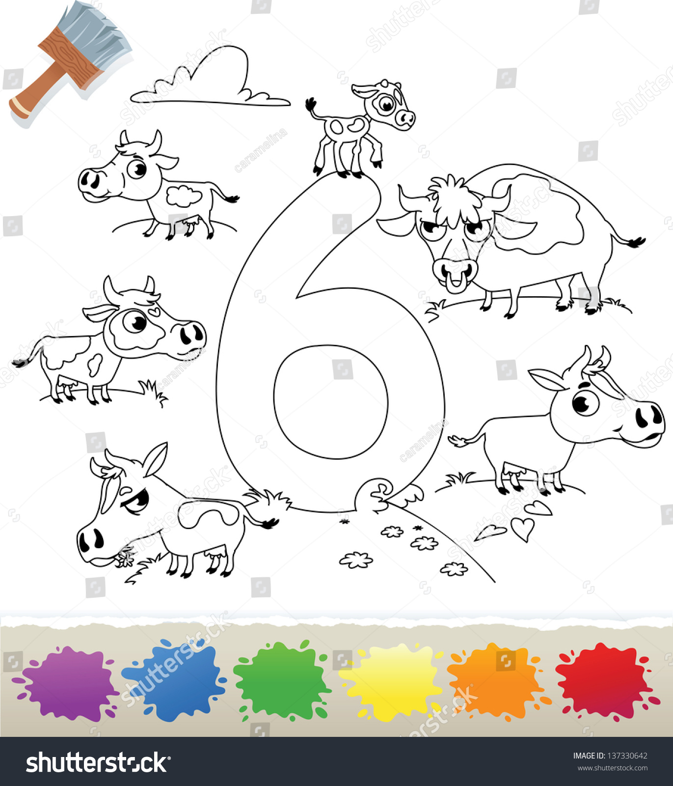 Collection Coloring Book Kids Number 6 Stock Vector 137330642 ...