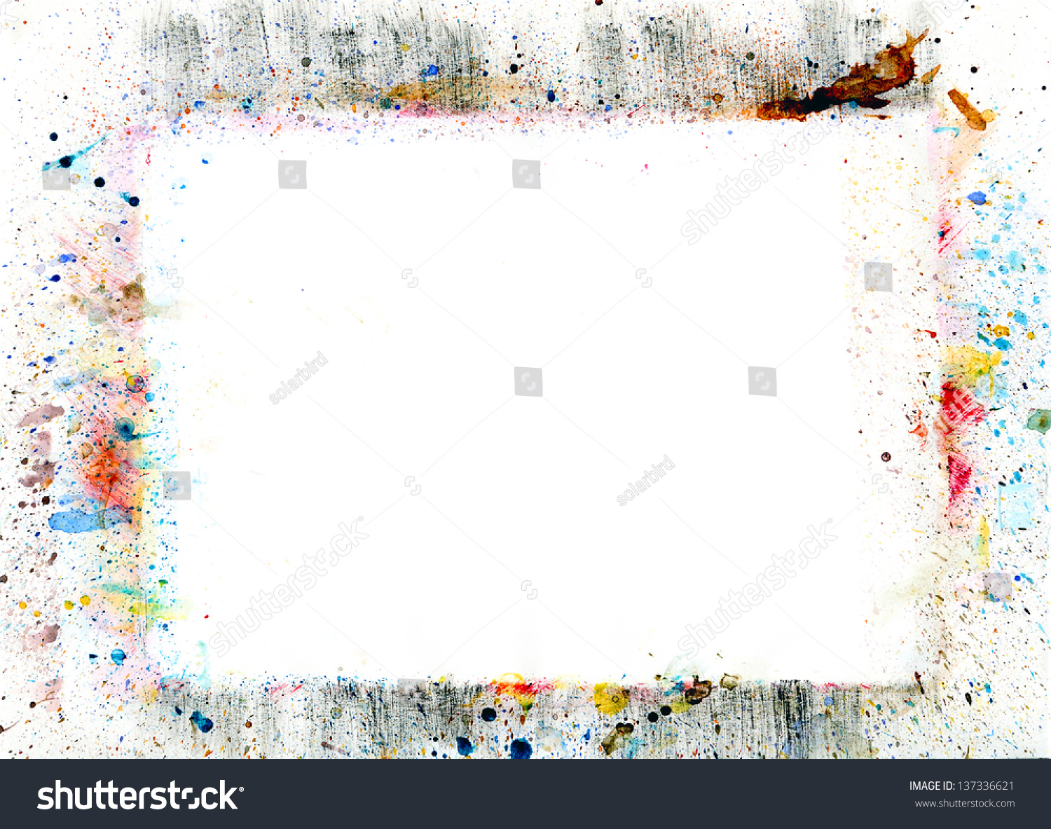 Watercolor Frame Stains Brush Strokes Stock Illustration 137336621 ...