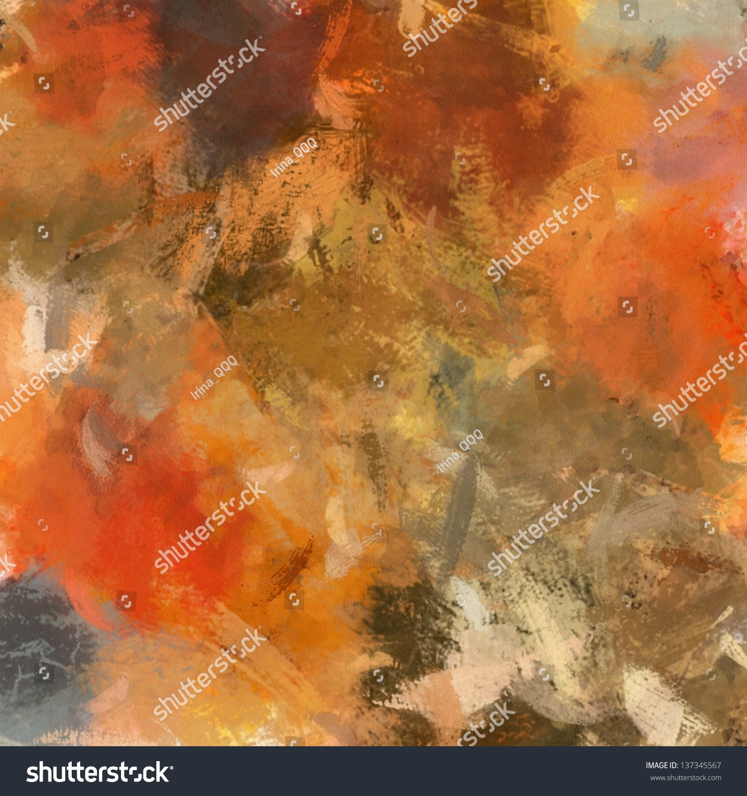 Art abstract acrylic painted autumn background with orange for Acrylic painting on black background
