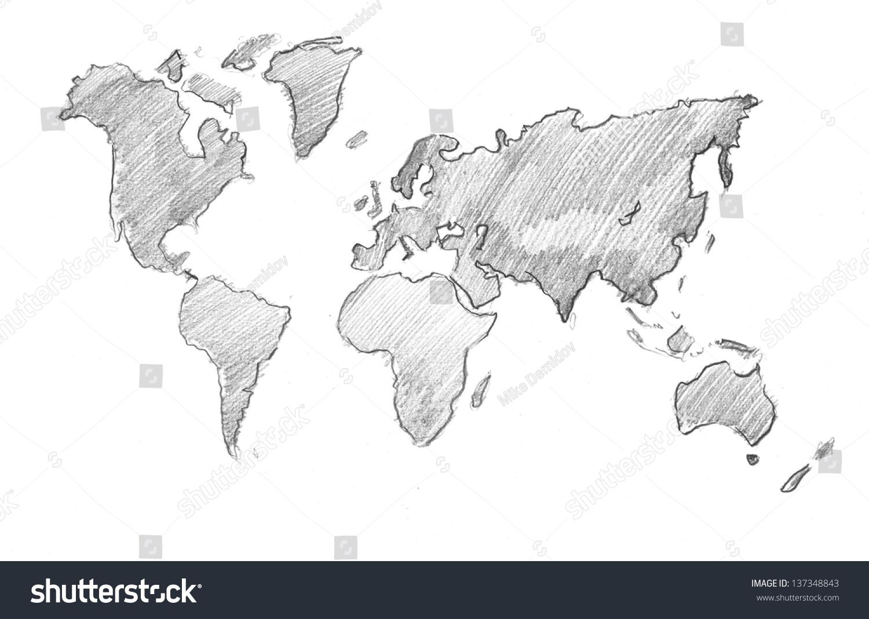 World map globe pencil drawing