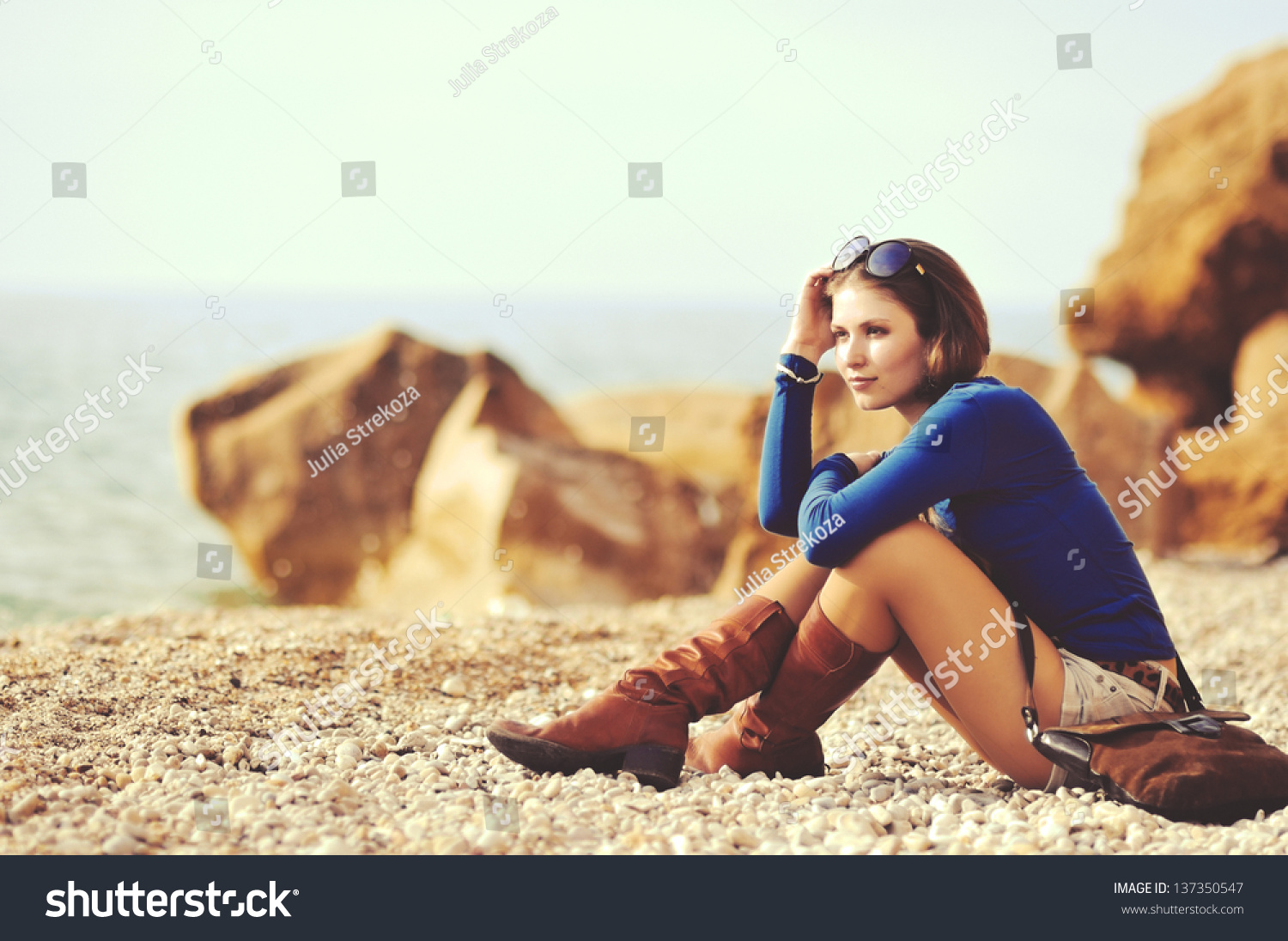 Glamourous Portrait Young Beautiful Woman Leather Stock Photo ...