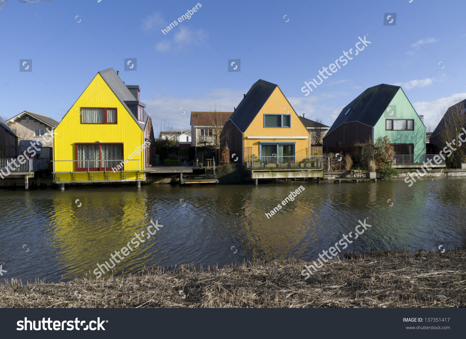 Almere, Netherlands - February 2: Colorful Houses On ... Colorful Almere