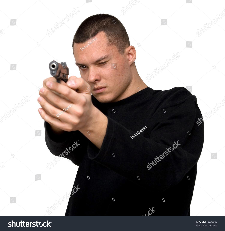 Man Shooting Gun Stock Photo 13735609 : Shutterstock