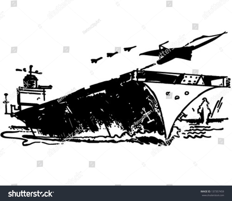 Aircraft Carrier Retro Clip Art Illustration Stock Vector ...