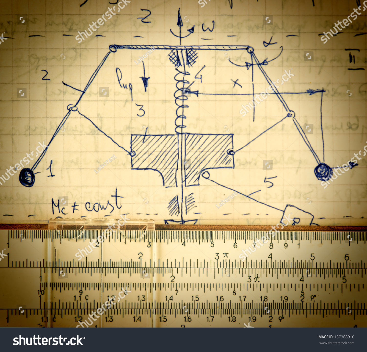 page old paper calculation theoretical mechanics stock photo edit