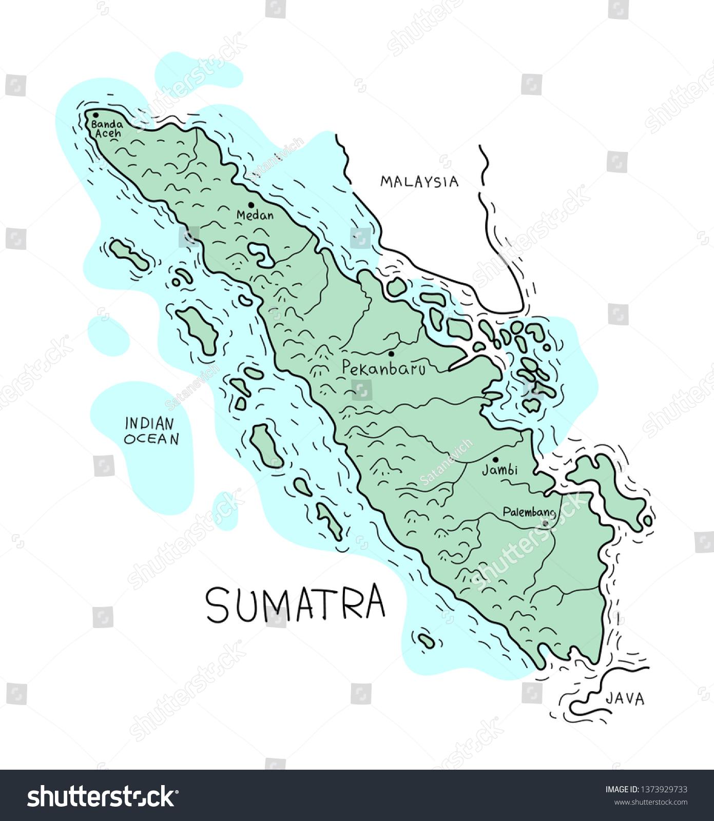 Vector Map Sumatra Island Live Line Stock Vector Royalty Free 1373929733