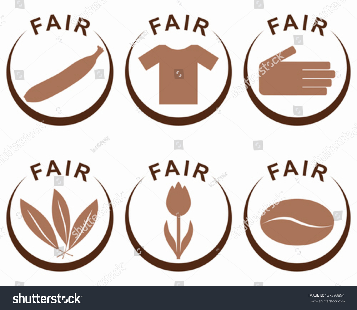 Symbols Products Fair Trade Stock Vector 137393894 Shutterstock