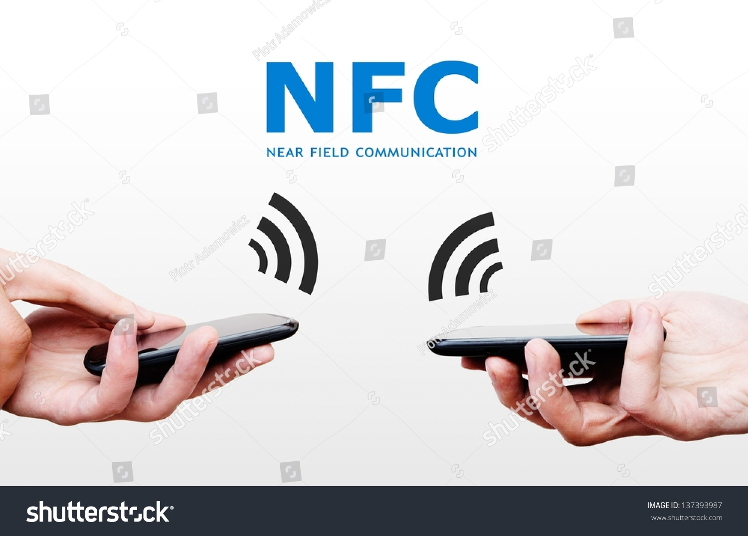 Two Mobile Phones With Nfc Payment Technology. Near Field Communication Stock Photo 137393987