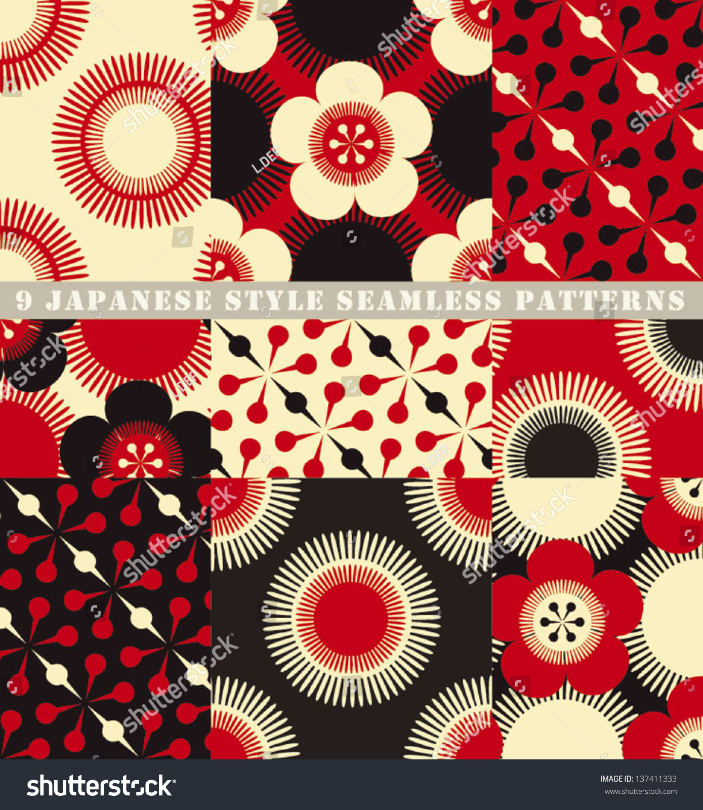 Japanese Style set 9 seamless japanese style floral stock vector 137411333