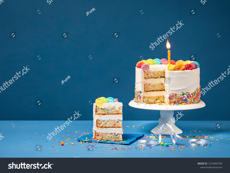 Wondrous Sliced Confetti Birthday Cake Lit Candle Stock Photo Edit Now Funny Birthday Cards Online Elaedamsfinfo