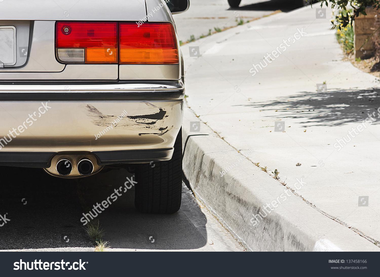 Design of a car bumper - Close Up Of A Rear Car Bumper Side Swiped