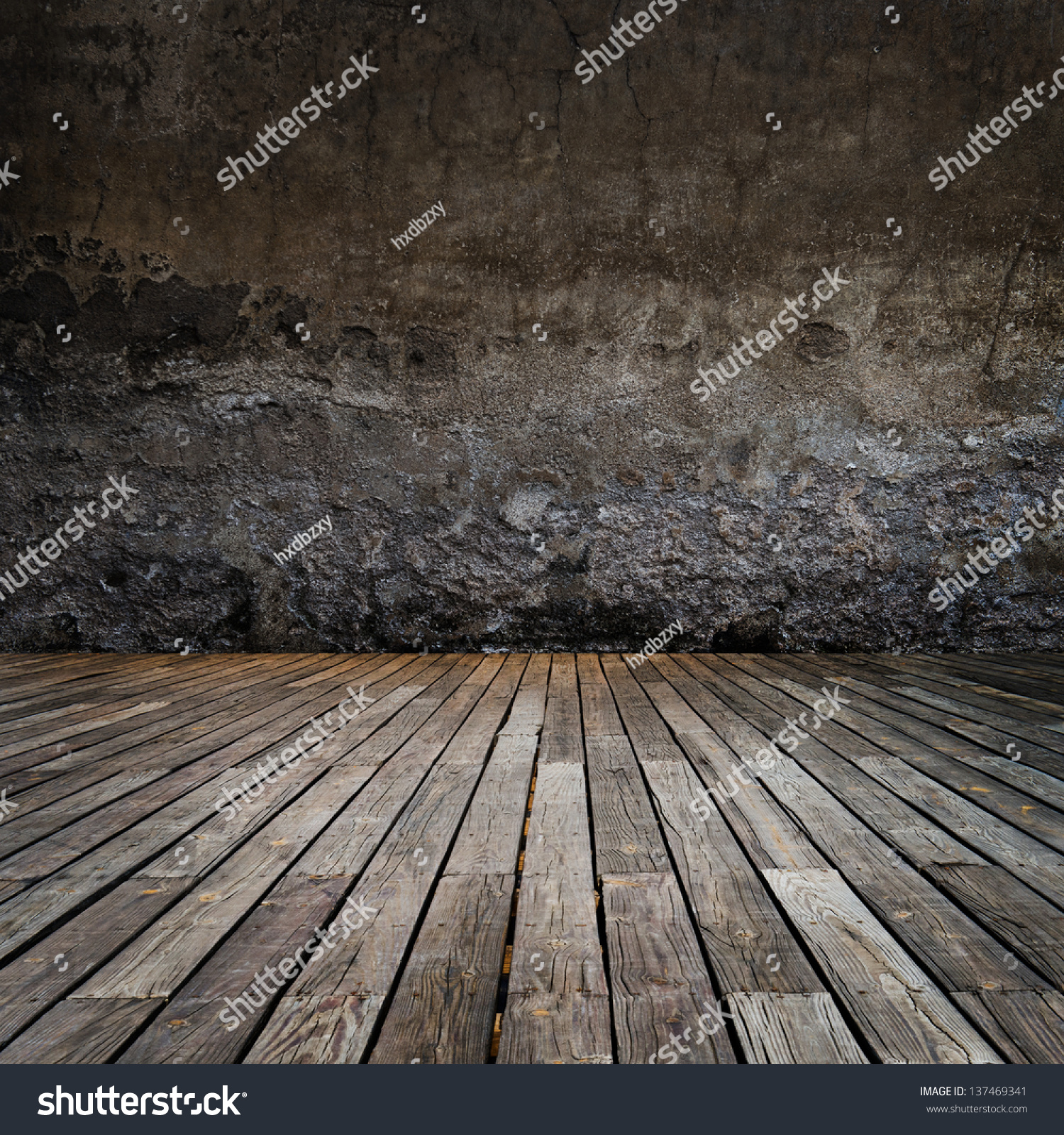 abstract the old wood floor and concrete wall for background. - Abstract Old Wood Floor Concrete Wall Stock Photo 137469341