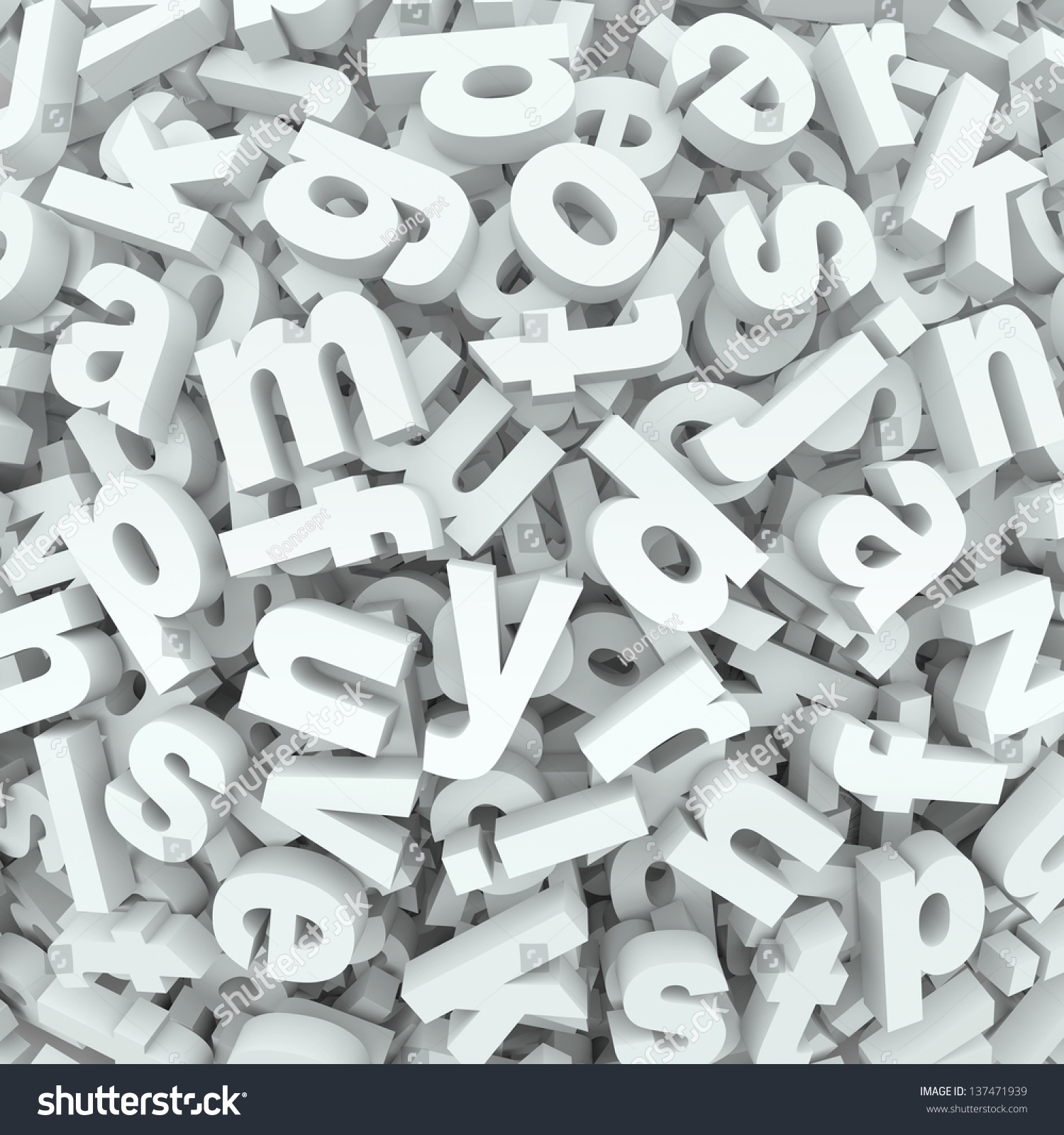 Many Alphabet Letters In A Jumbled Mess Of A 3d Display Or