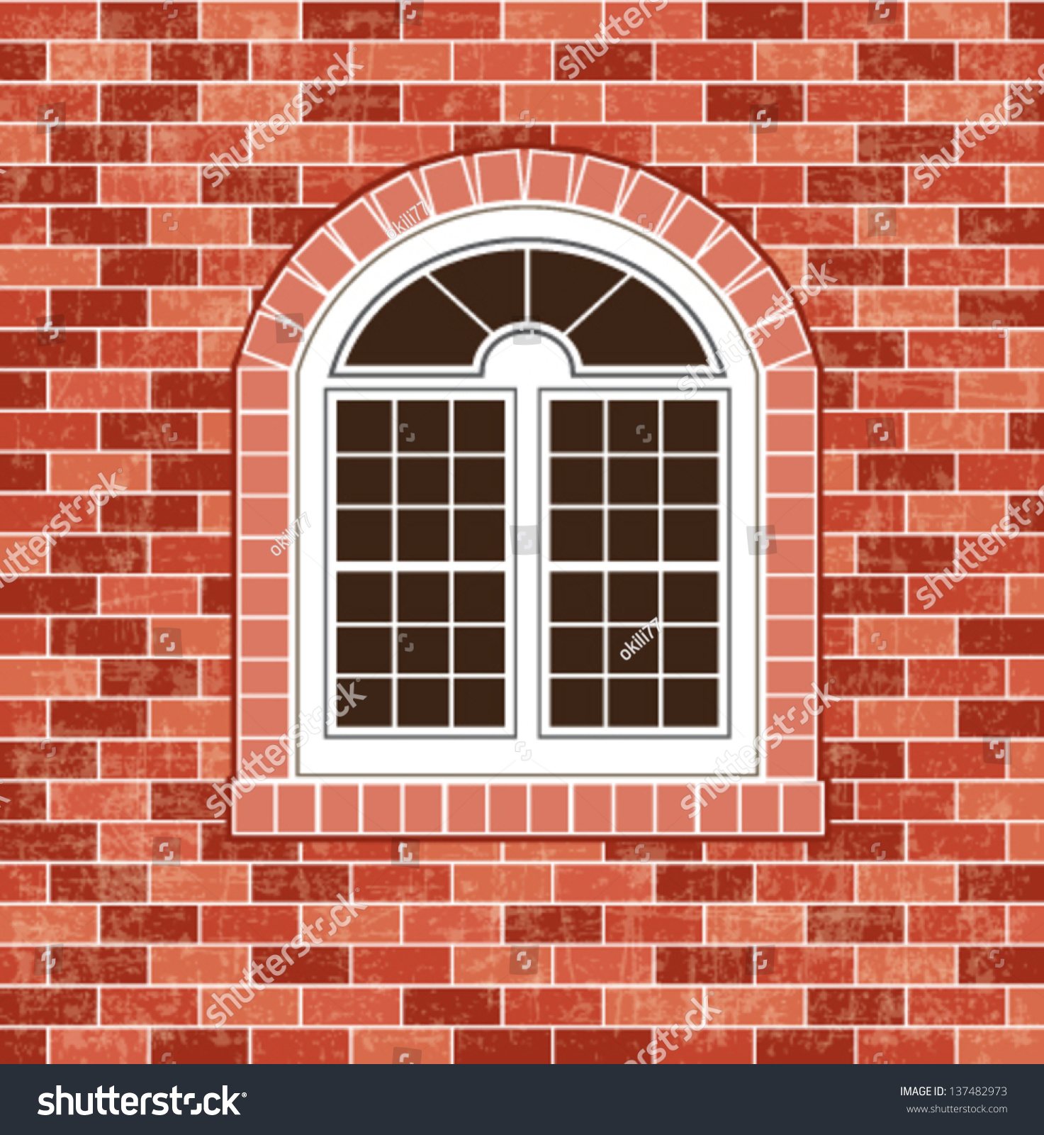 Window On Brick Wall Background Stock Vector 137482973