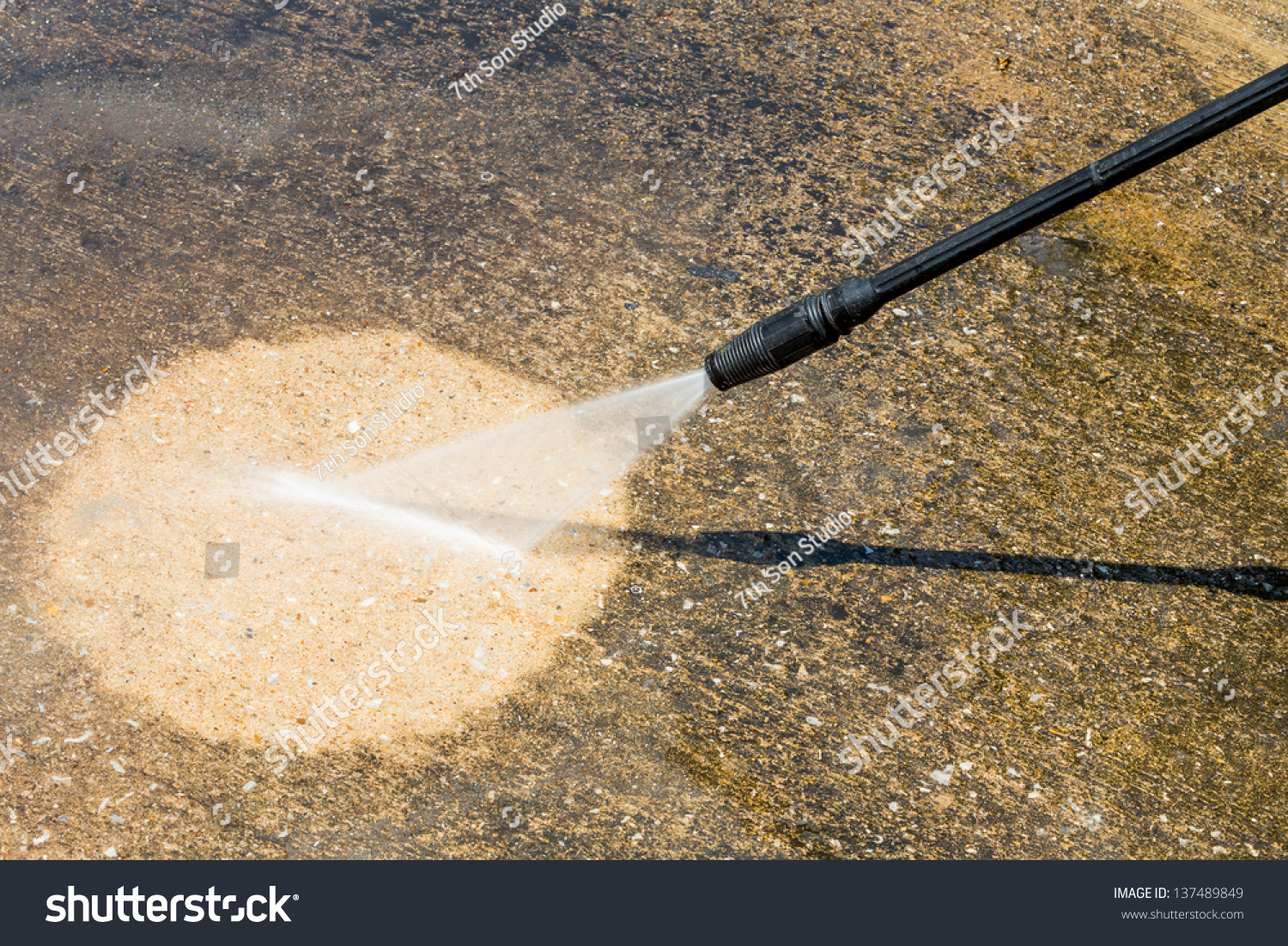 Floor Cleaning High Pressure Water Jet Stock Photo