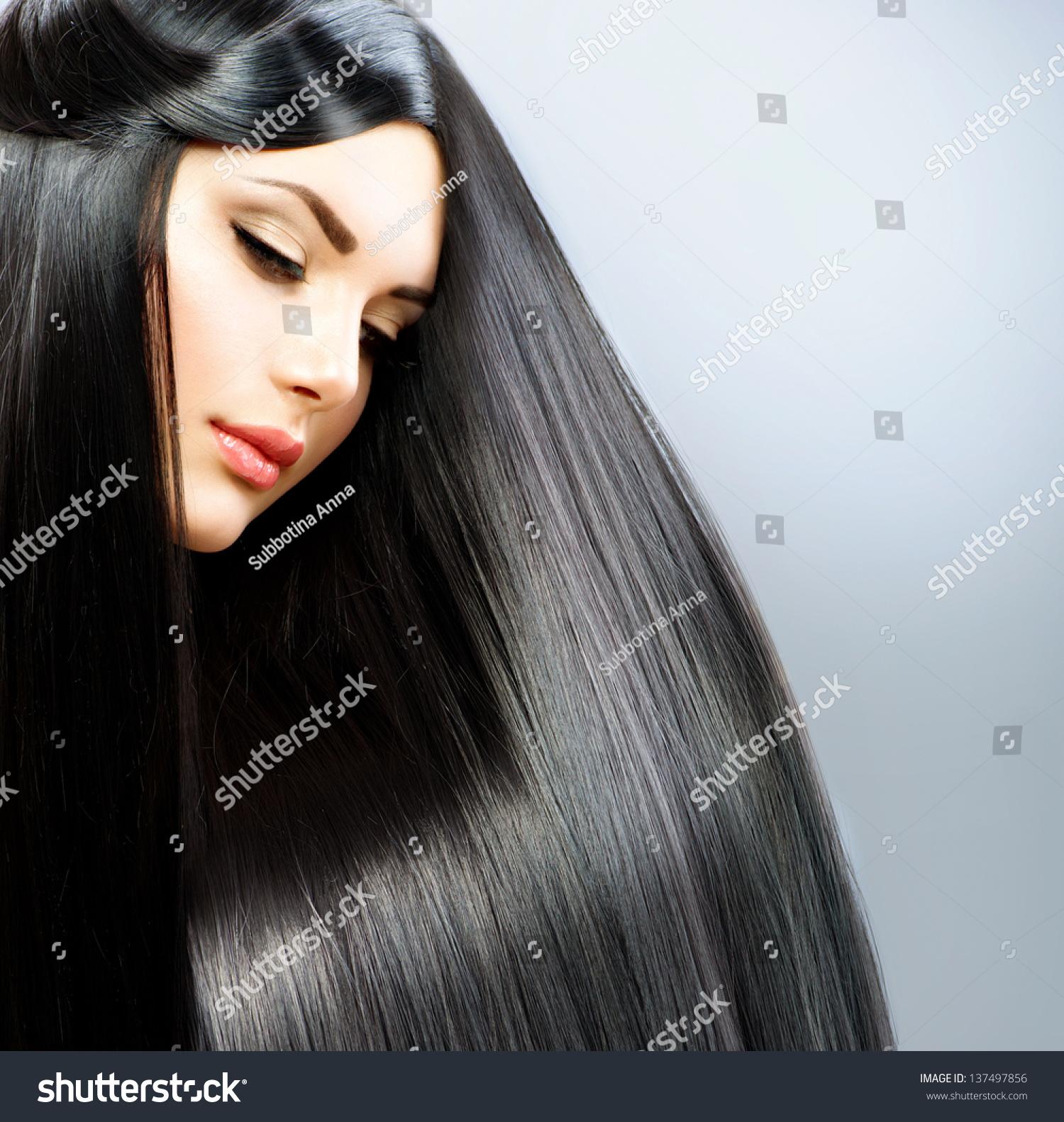 Terrific Hair Long Straight Hair Beautiful Brunette Stock Photo 137497856 Short Hairstyles For Black Women Fulllsitofus