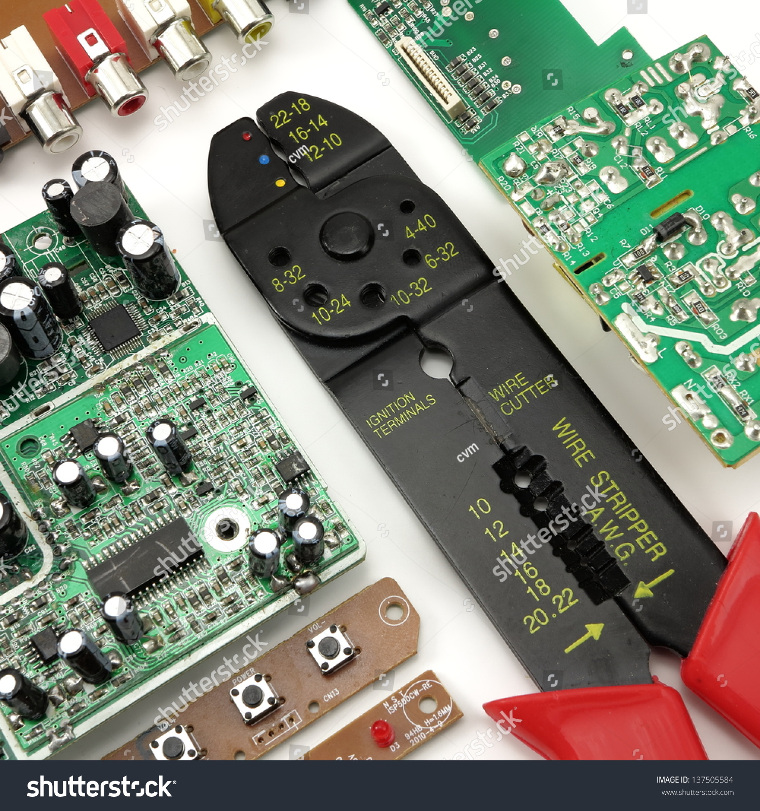 Green Circuit Board Wire Stripper Electrical Stock Photo (Royalty ...