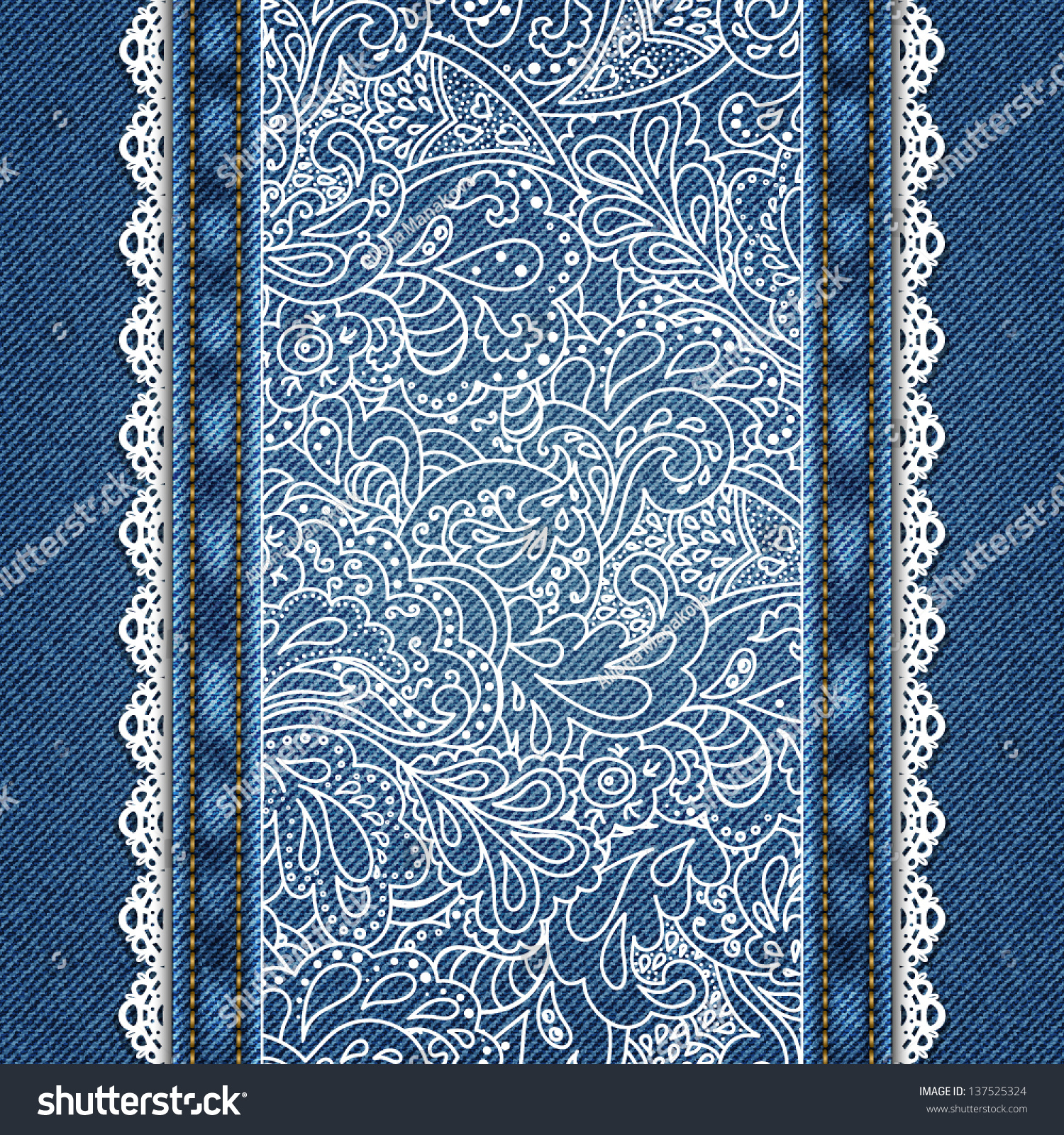 Denim Background Lace Ornate Floral Pattern Stock Vector 137525324 ...