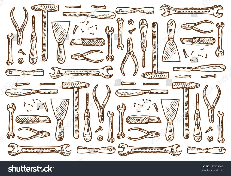 Vintage Carpentry Tools Stock Vector 137525705 Shutterstock