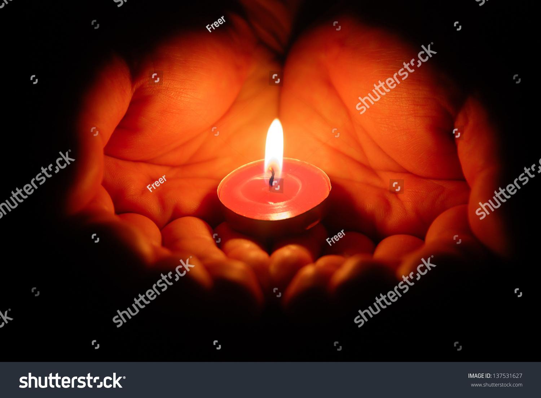 Hands Holding Burning Candle Dark Stock Photo 137531627 - Shutterstock for Holding Candle In The Dark  193tgx