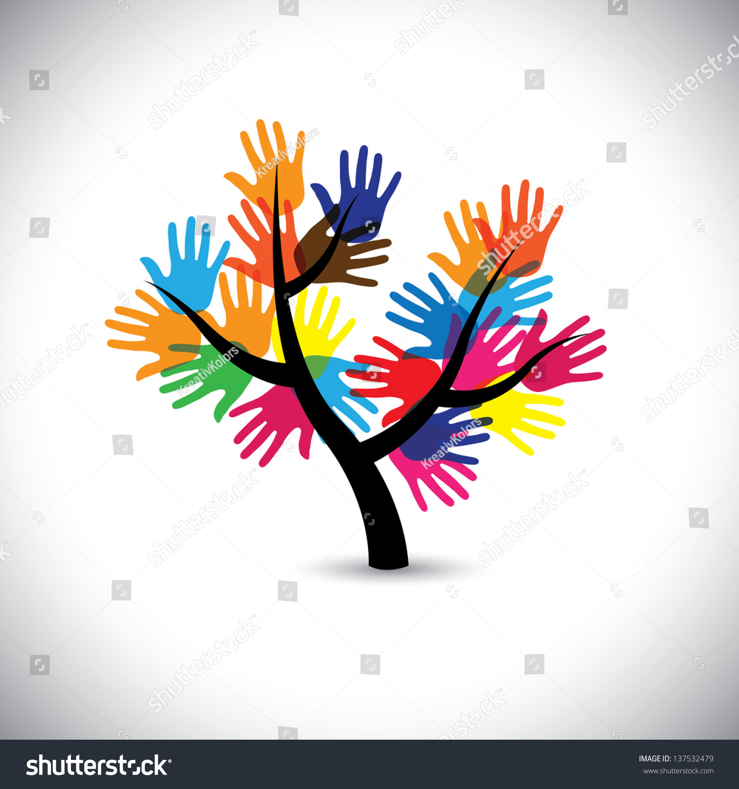 People Helping Each Other: Colorful Hand Palm Imprints Leaves Flowers Stock