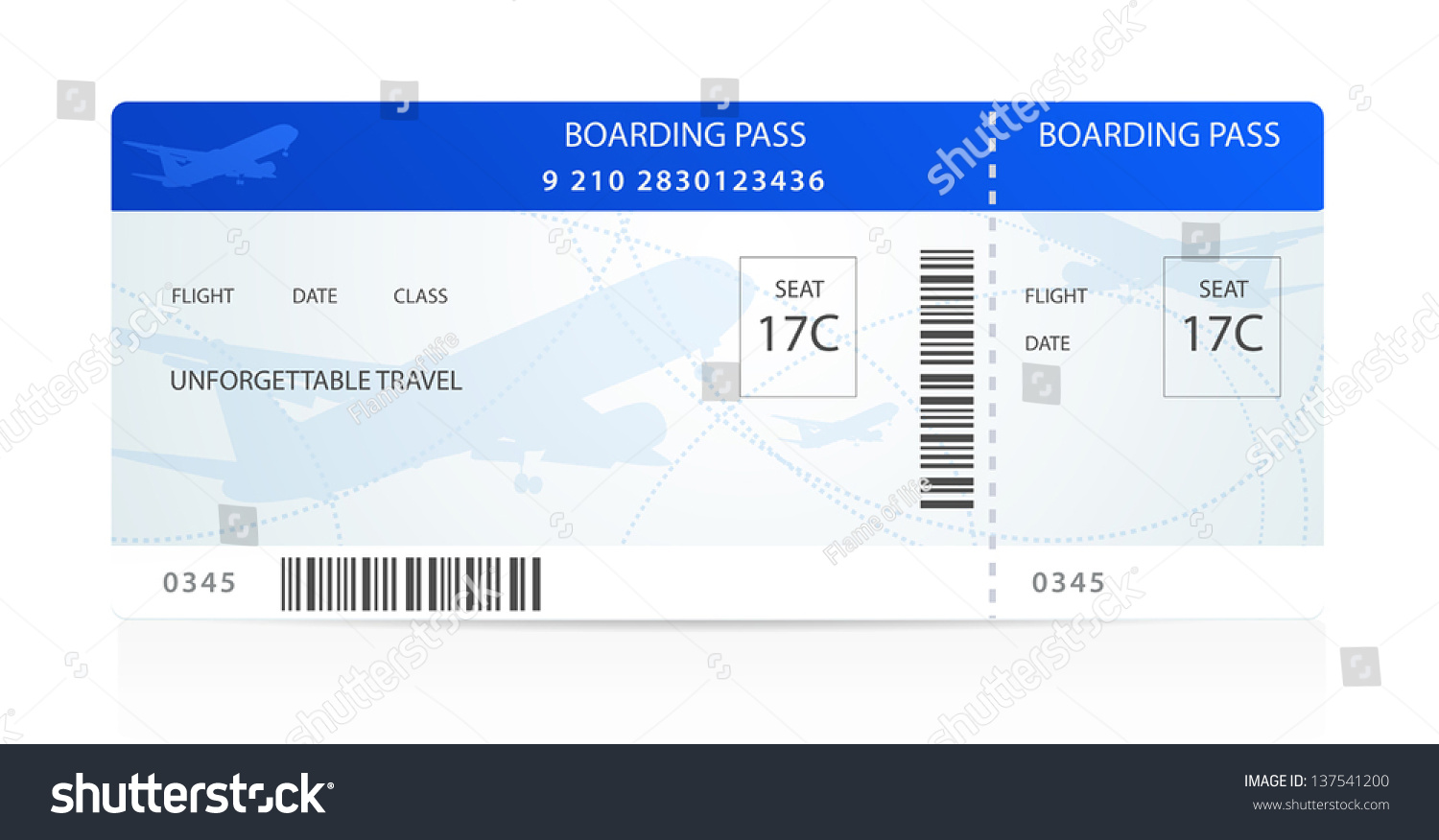 Blue Boarding Pass Ticket Traveler Check Vector 137541200 – Plane Ticket Template