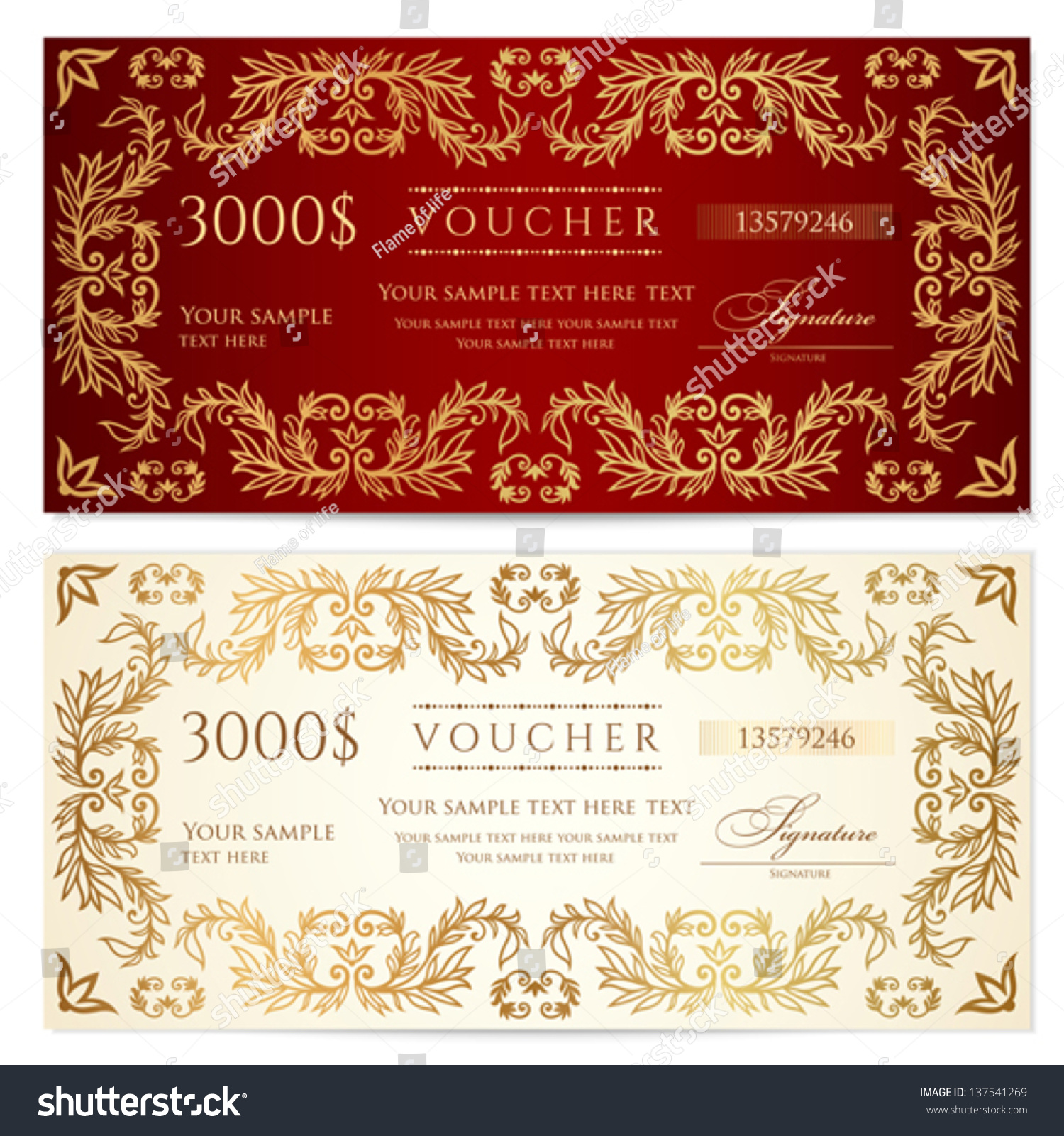 Voucher Gift Certificate Template Pattern Floral Stock Vector ...
