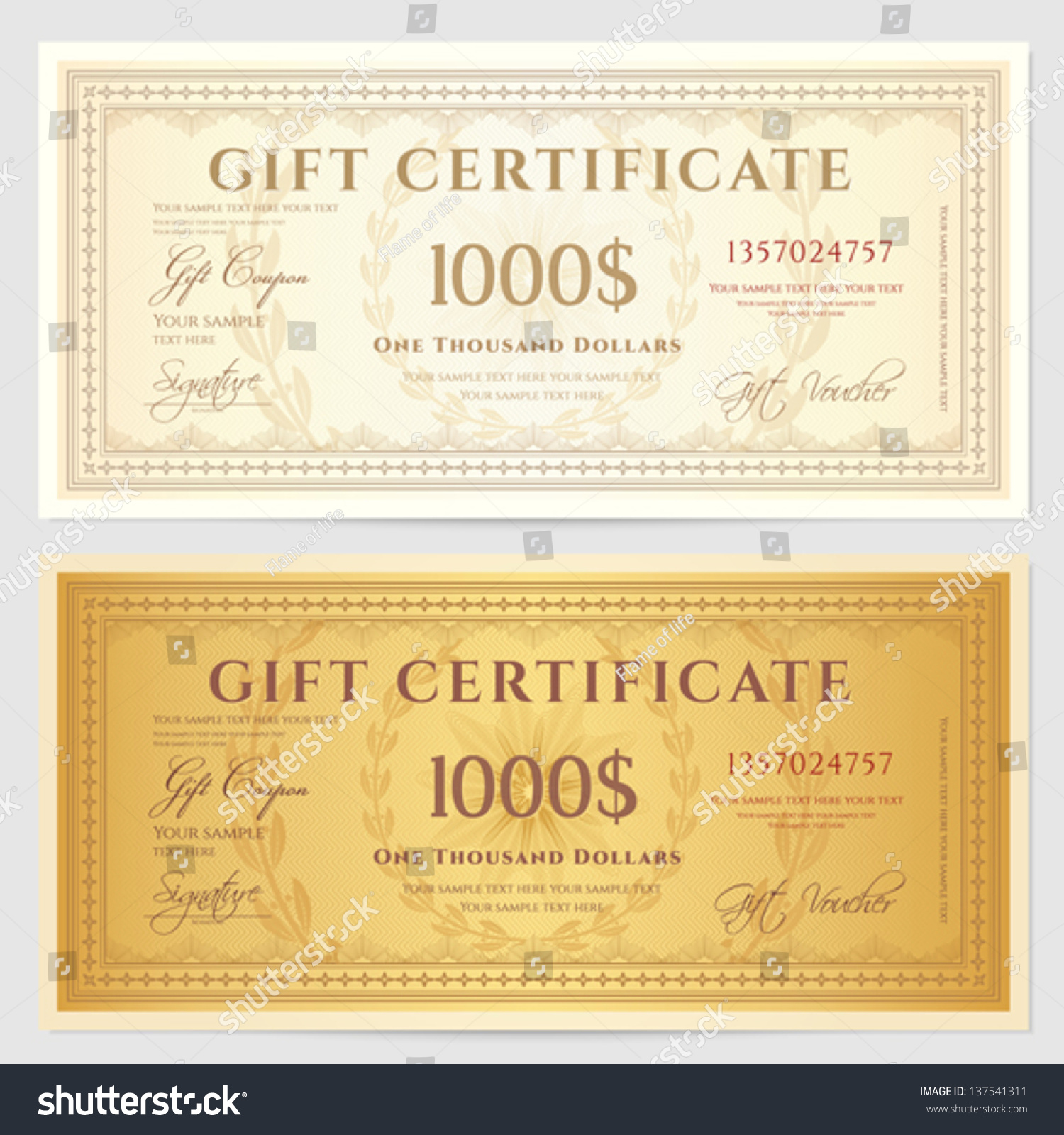 Gift Certificate / Voucher Template With Guilloche Pattern (watermarks) And  Border. Background Usable