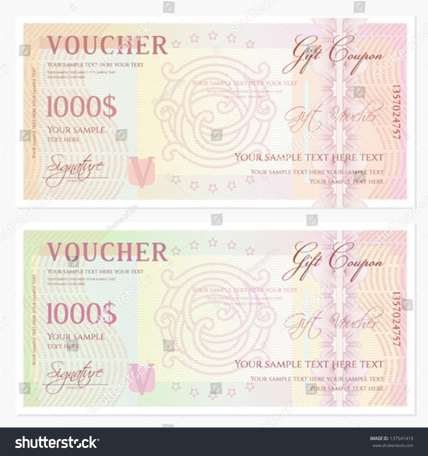 Voucher Gift Certificate Template Guilloche Pattern Stock Vector