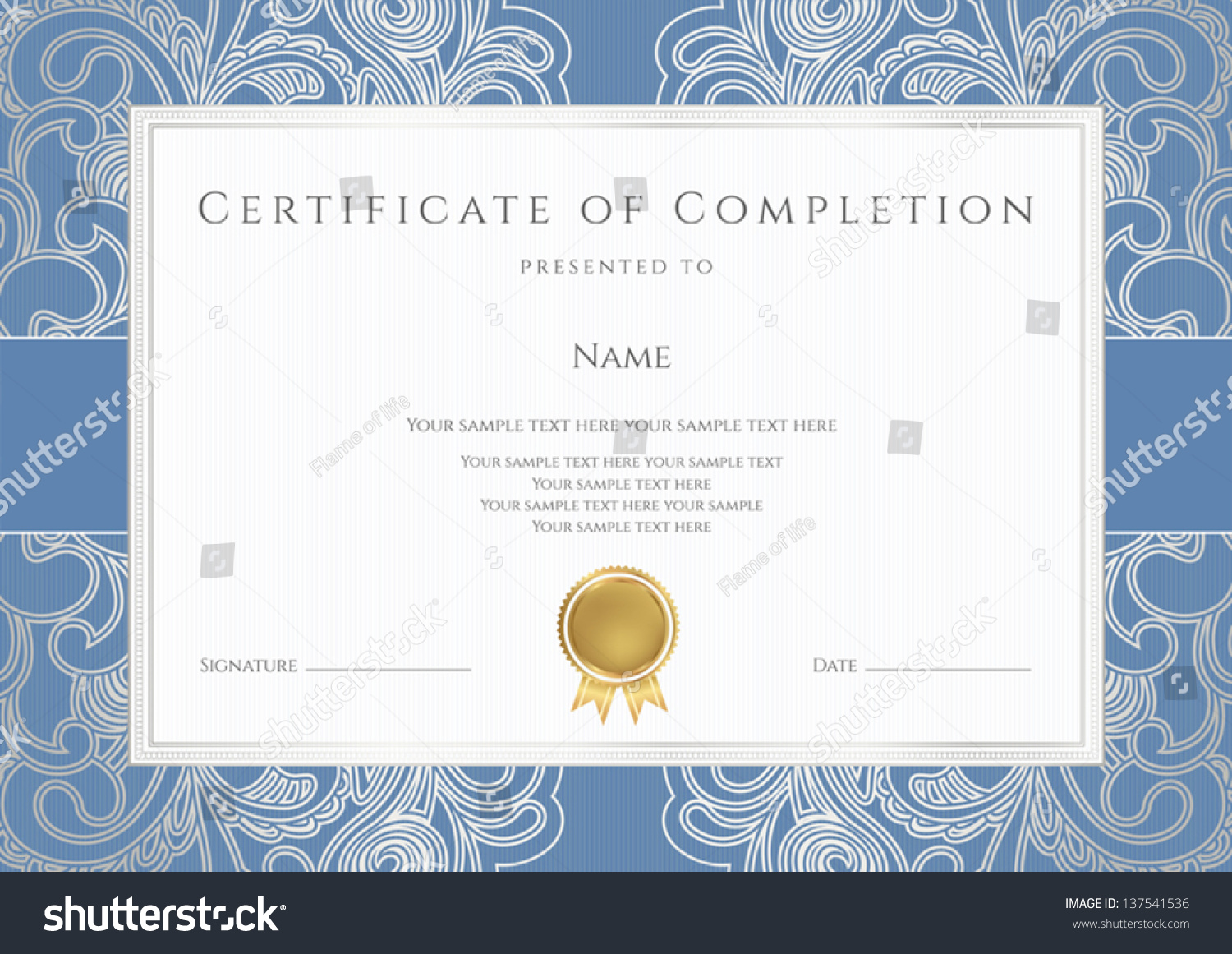 Horizontal certificate completion template floral pattern stock horizontal certificate of completion template with floral pattern watermarks blue border yelopaper Choice Image