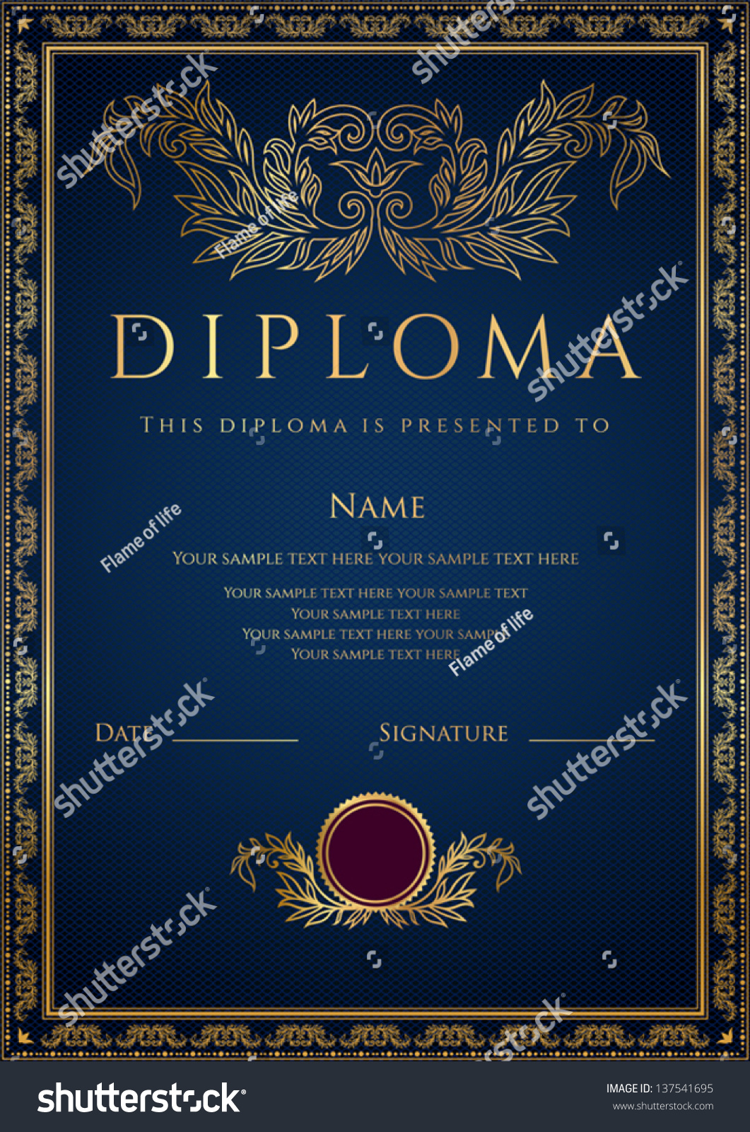Vertical dark blue diploma certificate template stock for Calligraphy certificate templates