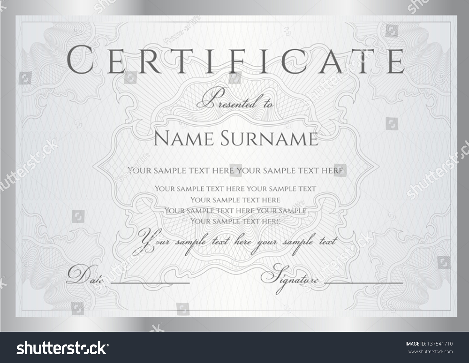 Horizontal Silver Certificate Completion Template Guilloche – Template Certificate of Completion