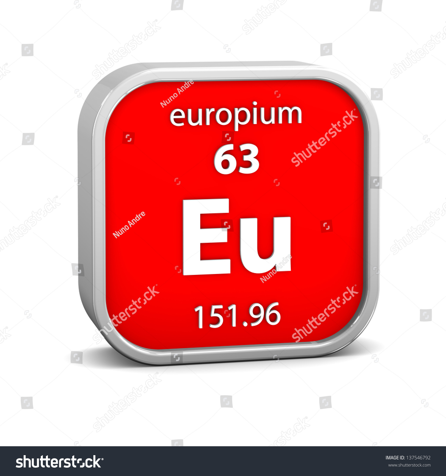 Europium Material On Periodic Table Part Stock Illustration