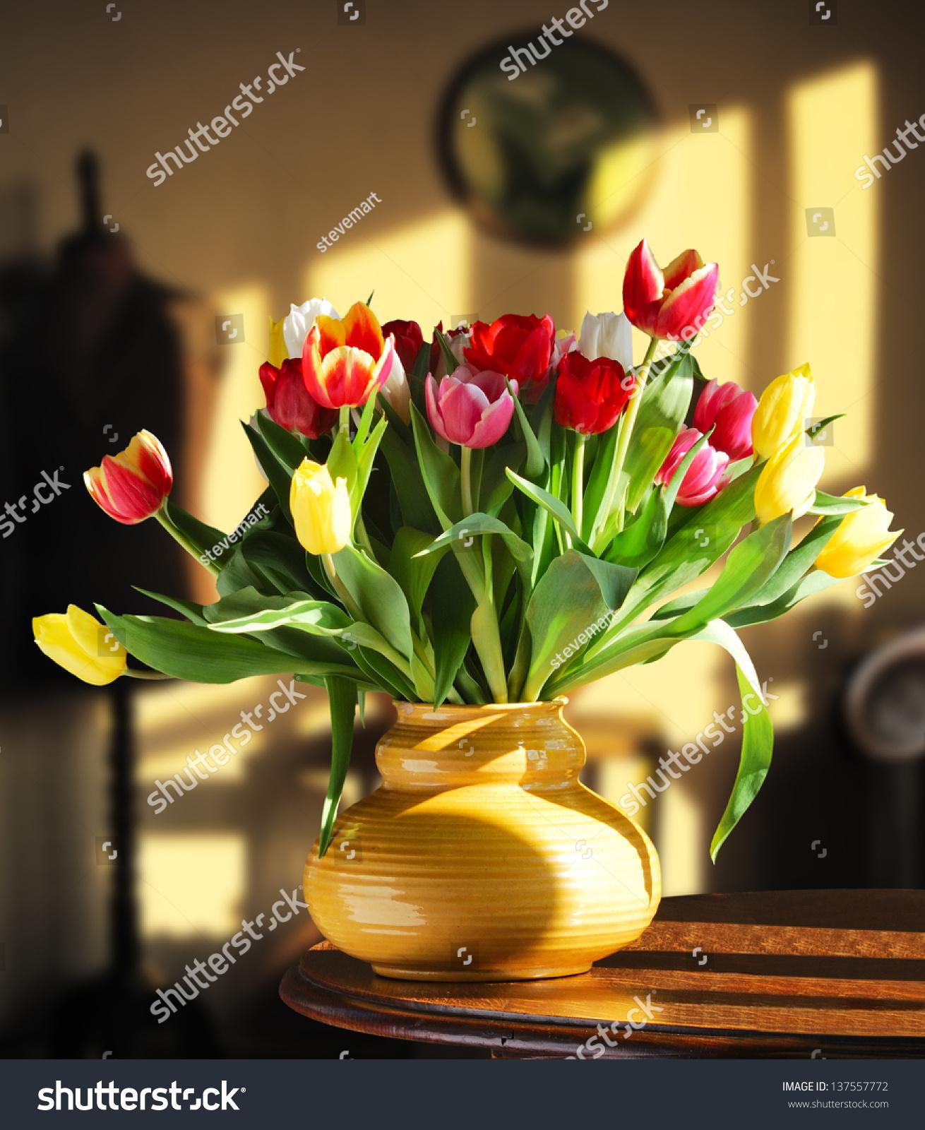 Tulip Flowers Yellow Vase On Table Stock Photo Edit Now 137557772