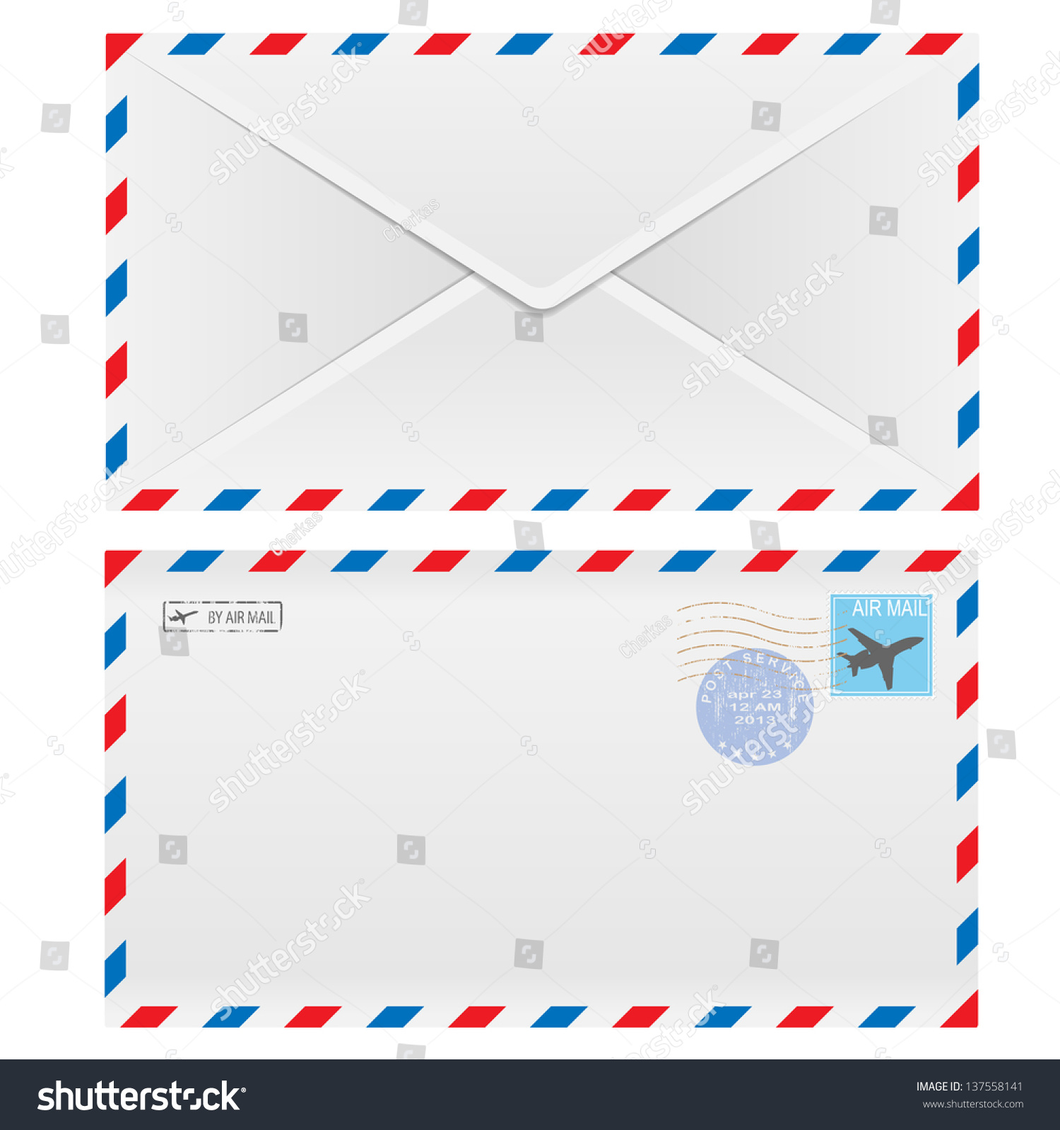 Air Mail Envelope Postal Stamp Isolated Stock Vector