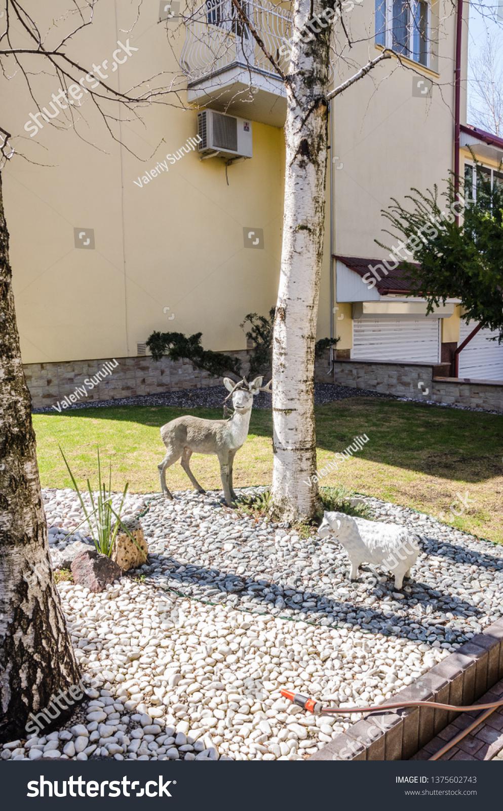 Deer Garden Decor Next Tree Background  The Arts Stock Image