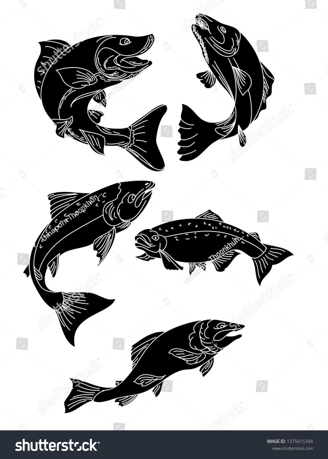 japanese salmon vector sicker print salmon stock vector royalty free 1375615394 https www shutterstock com image vector japanese salmon vector sicker print fish 1375615394