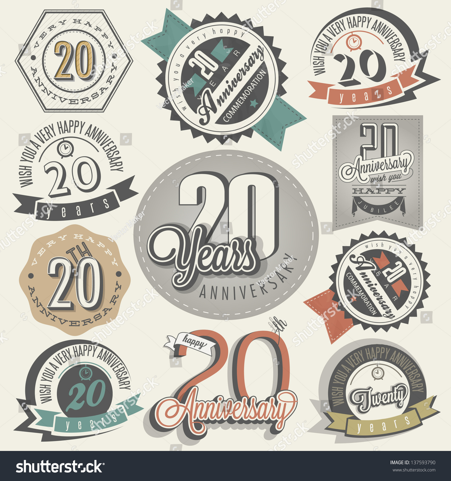Vintage 20 Anniversary Collection Twenty Anniversary Design In Retro Style Vintage Labels For Anniversary