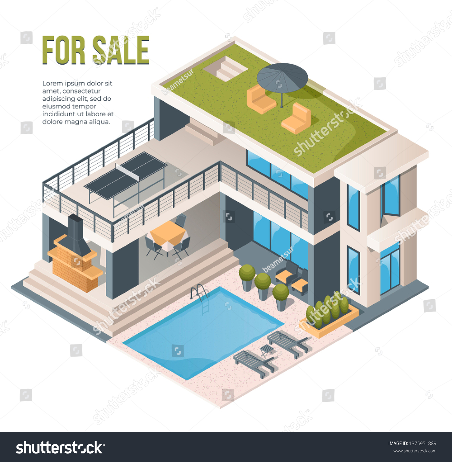 Modern Country House Backyard Swimming Pool Stock Vector Royalty Free 1375951889