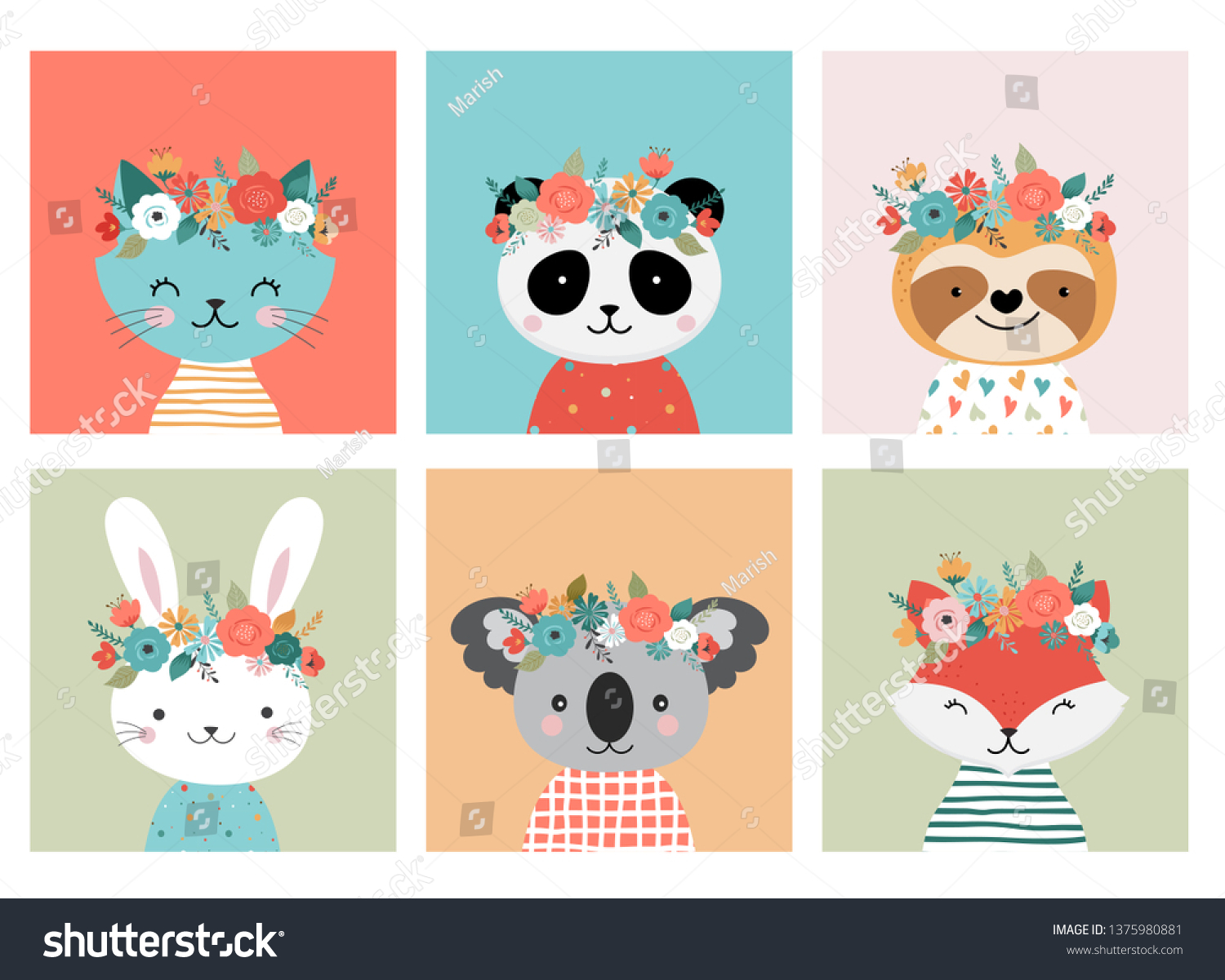 Cute Animals Heads Flower Crown Vector Stock Vector Royalty Free 1375980881 I love how the biggest flower on her crown closes like that. https www shutterstock com image vector cute animals heads flower crown vector 1375980881