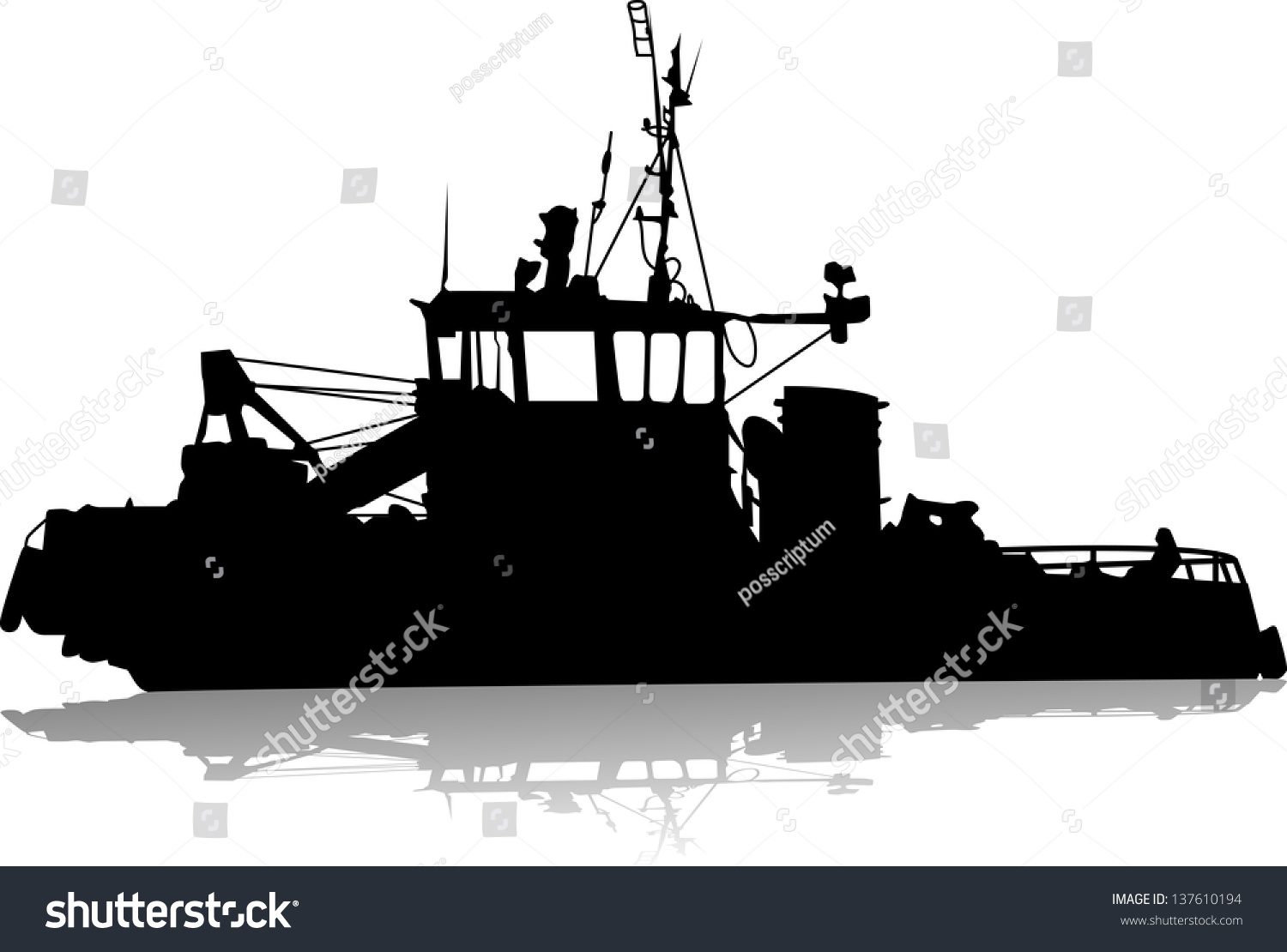 Commercial fishing boat silhouette