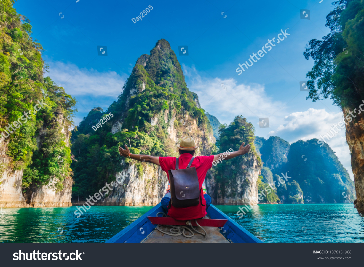 Man traveler on boat joy fun with nature rock mountain island scenic landscape Khao Sok National park, Famous travel adventure place Thailand, Tourism beautiful destinations Asia holiday vacation trip #1376151968